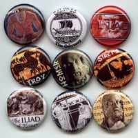 "HOMER Ancient Greek Poet Iliad Odyssey 9 Pinback 1"" hand pressed Buttons Badges Pins"