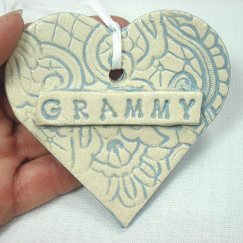 Ceramic Grammy Heart Ornament, Mother's Day Ornament, Mother's Day Gift, Gift for Grammy, Grandmother's Gift