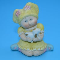 1984 Cabbage Patch Kids Ceramic Figurine Vintage Blonde Girl Puppy Bisque Porcelain Figure Cake Topper Gift for Her Childs Gift