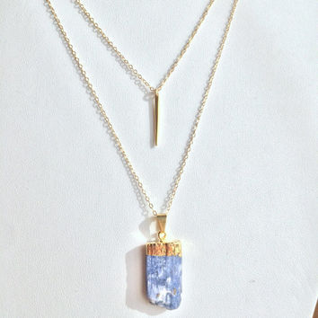 Double Layered Gold-filled Necklace w/ Vermeil Tooth and Blue Kyanite Stone ~ Boho Chic - One of a Kind Collection