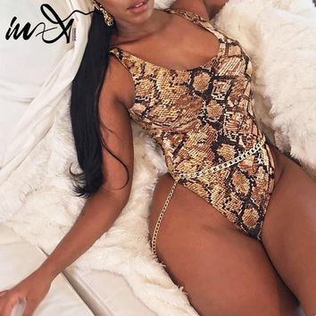 In-X High cut swimsuit female one piece Snakeskin print bikini Brazilian swimwear women monokini Sexy padded bathing suit 2019