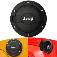 Gas Cap Cover for Jeep Wrangler, Gas Tank Cover Satin Black Powder Coated Steel Fuel Filler Door Cover for Jeep Wrangler Accessories 2007 - 2017 JK & Unlimited 4 Door 2 Door Sport Rubicon Sahara