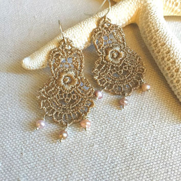 Lace Chandelier Earrings - Gold Lace Earrings - Lace Drop Earrings - Lace and Pearl Earrings - Beaded Lace Earrings