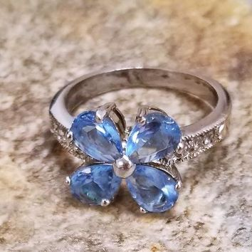 GORGEOUS Blue Topaz Flower Ring Sz 9