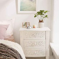 Riya Carved Wood Nightstand