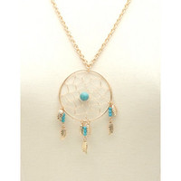 TURQUOISE DREAMCATCHER PENDANT NECKLACE