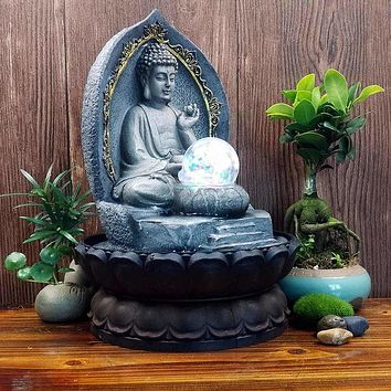 Grey Finishing  Buddha Desktop Water Fountain Statue