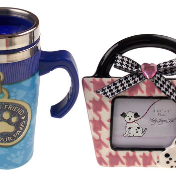 Lady Jayne Dog Ceramic Picture Frame Coffee Travel Mug Best Friend Has Four Paws