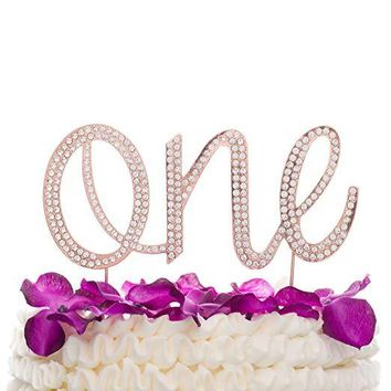 One Cake Topper - Rose Gold