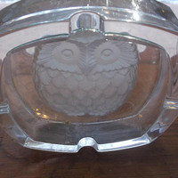 """Clear Art Glass Owl Ashtray Etched Design Square Heavy 5"""" X 5"""" Mid Century"""