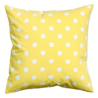 "Polka Dots Accent Decorative 100% Cotton Canvas Throw Pillow Cover Cushion 20 X 20"" Reversible Lemon Yellow and White"