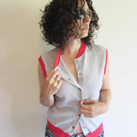 Vintage Gray and Red Sleeveless Button Up Sweatshirt