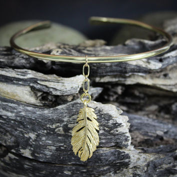 Arm Band, Feather, Hammered Solid Brass, Textured Brass, Hand forged metal jewelry, Brass upper arm cuff, Upper arm band,  Gold arm band