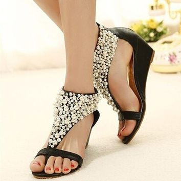 Open Toe Rhinestone Zipper Pearl Beaded Wedges Sandals