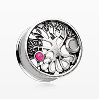 A Pair of The Tree of Life Sun & Moon Opalescent Ear Gauge Plug