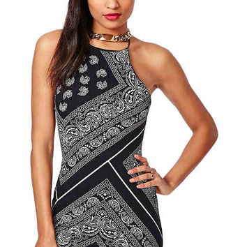 Printed Backless Sleeveless Bodycon Dress