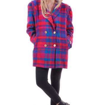 80s Plaid Wool Jacket Red Blue Purple Double Breasted Blazer 90s Clueless Style Vintage Winter Coat Hipster Clothing Womens Size Large XL