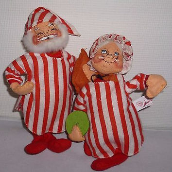 Annalee Santa Claus & Mrs. Claus Christmas Ornament Figurine Dolls