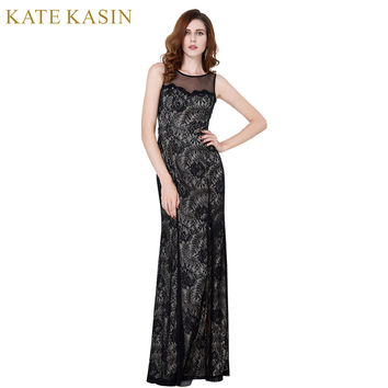 Kate Kasin Vintage Lace Mother of the Bride Dresses 2017 Black High Slit Long Formal Dress for Wedding Vestido de Madrinha 0168