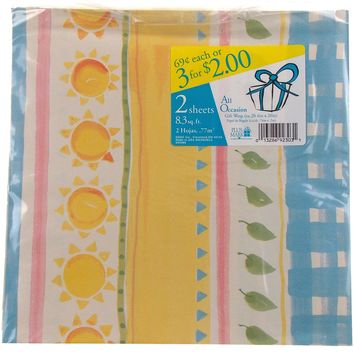 Plus Mark All Occasion Gift Wrap Sun Leaves 8 Pkgs 66.4 sq ft Paper Yellow Blue