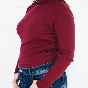 Long Sleeve Ribbed Knit Turtleneck | Wet Seal Plus