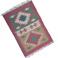 2 X 3 Square Foot Handmade Indoor Outdoor Wool Jute Rug Unic Designs Jute place Carpet  Home Decor Traditional Indian Vintage Look