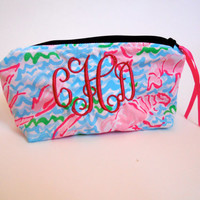 Monogrammed Makeup Bag Lilly Pulitzer Lobstah Roll Travel Cosmetic Bag Pouch Big Little Sorority Gift Lobster