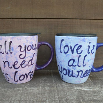 OOAK All You Need Is Love / Love Is All You Need - Beatles Quote 18 oz. Mug Set with Lids - Shades of Purple
