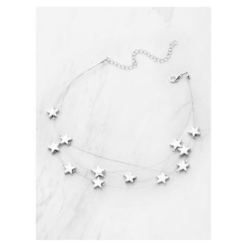 Silver Stars Layered Short Necklace