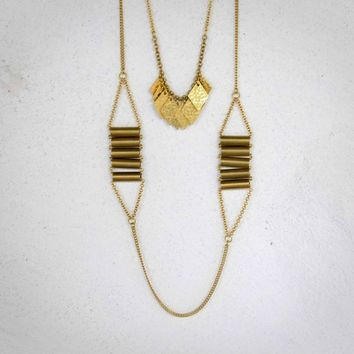 SALE - Scale - Geometric ladder vintage brass long necklace
