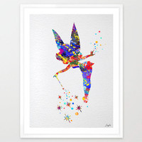 Tinker Bell Watercolor Art Print,Wall Art Poster,Home Decor,Wall Hanging,Girls Room Art,Motivational/Inspirational Gift,Birthday Gift,No 30