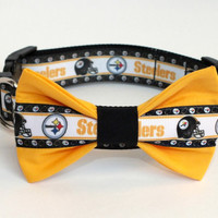 Steelers Dog Collar Bow Tie Set