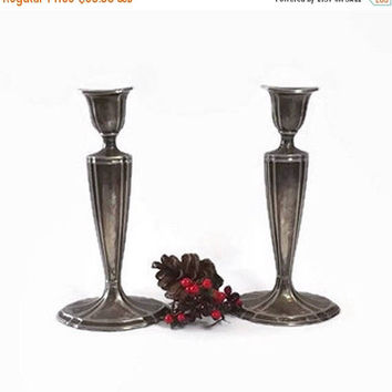 ON SALE - Silverplate Candlesticks, Jennings Brothers JB Silver Plate Candle Holders, Cottage Chic Home Decor