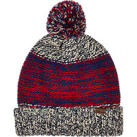 River Island MensRed space dye color block beanie hat