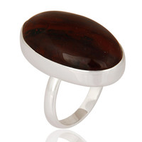 925 Sterling Silver Bloodstone Bezel-Set Ring - Fine Gemstone Jewelry