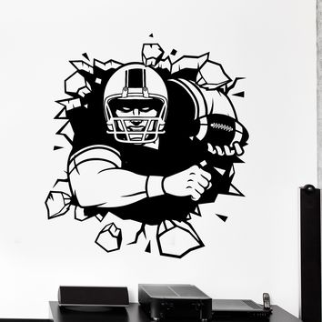 Wall Vinyl Decal Football Player Breaking The Wall Super Bowl Home Interior Decor Unique Gift z4153
