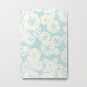 Cream Seashells on Aqua Metal Print by Noonday Design
