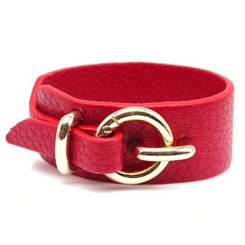 Gold Buckle Faux Leather Cuff Bracelet (5 Color Options)