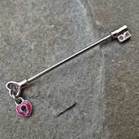 Key Pink Industrial Barbell with Lock 14ga Body Jewelry Scaffold Ear Jewelry Double Piercing Upper Ear Jewelry
