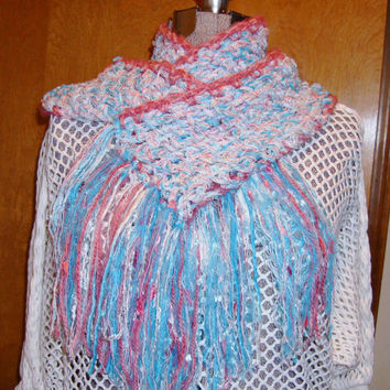 Cotton Candy Scarf Handmade Crochet Aqua White Rose Soft like a Rag Rug Cottage Chic