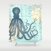 Map Octopus Shower Curtain by Samantha Ranlet