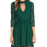 Line & Dot Moore Keyhole Lace Dress in Green