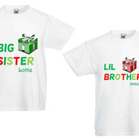 Personalised Matching Siblings Kids Xmas T Shirt