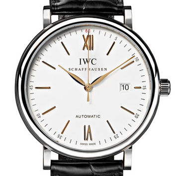 IWC SCHAFFHAUSEN - Portofino Automatic 40mm alligator and stainless steel watch