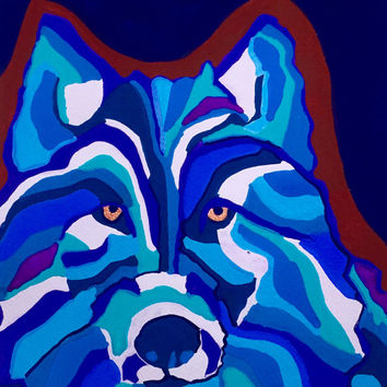 Wolf Art Print,  Animal Art, Abstract Wolf Art. Wolf Wall Art