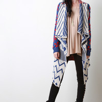 Tribal Thick Knit Asymmetrical Cardigan