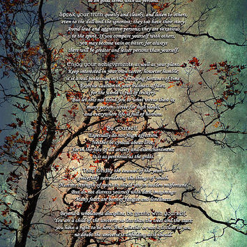 Desiderata Inspiration Over Old Textured Tree