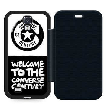 Converse Quote Leather Wallet Flip Case Samsung Galaxy S4