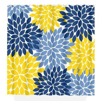 Flower SHOWER CURTAIN, Flower Bathroom, Navy Yellow, Girl MONOGRAM Personalized, Floral Bathroom Decor, Bath Towel, Plush Bath Mat