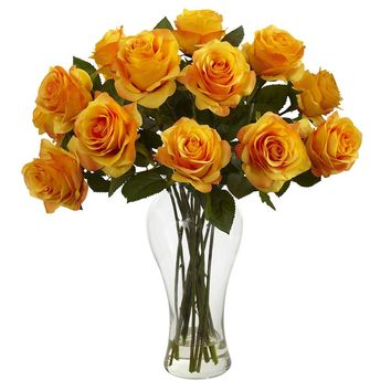 Silk Flowers -Blooming Orange Yellow Roses With Vase Artificial Plant